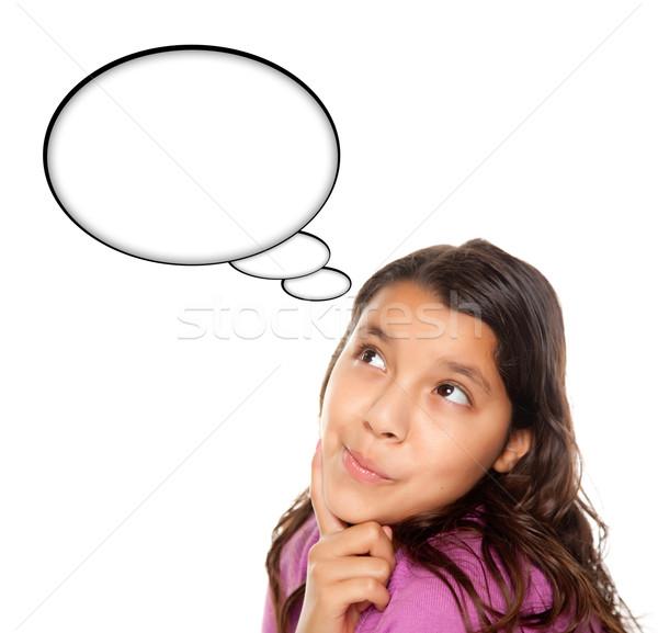 Hispanos adolescente nina burbuja de pensamiento aislado Foto stock © feverpitch