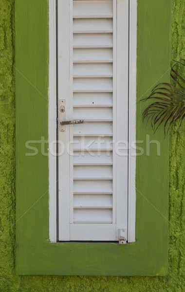 Abstract Green and White Window Pane and Shutter Stock photo © feverpitch