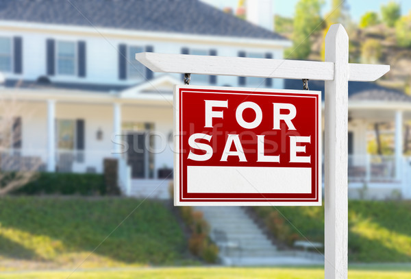 Stockfoto: Verkoop · onroerend · teken · huis · home