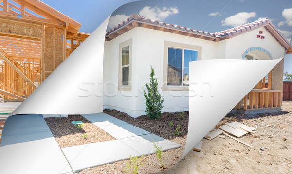 Completed House with Page Corners Flipping to Construction Frami Stock photo © feverpitch