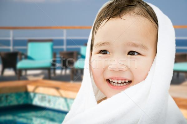 Gelukkig cute halfbloed chinese kaukasisch jongen Stockfoto © feverpitch