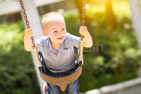 Happy Young Boy Having Fun On The Swings At The Playground Stock photo © feverpitch