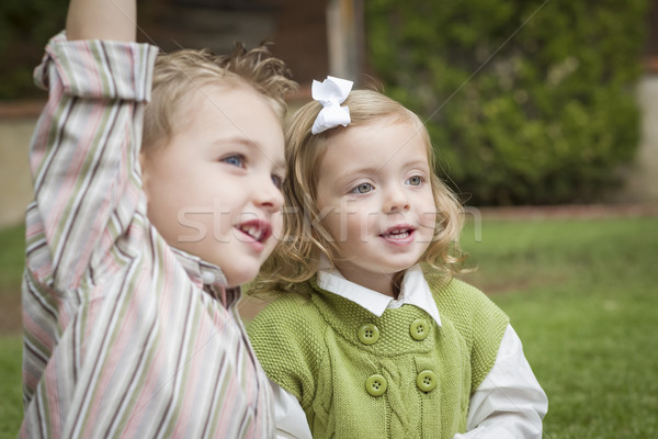 Stock photo: Adorable Brother and Sister Children Playing Outside