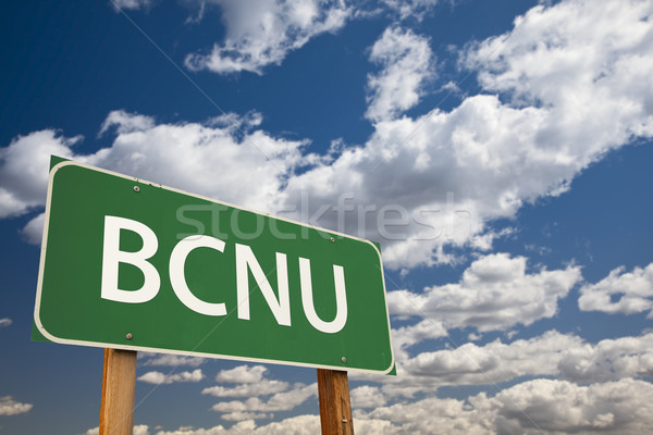 BCNU Green Road Sign Over Sky Stock photo © feverpitch