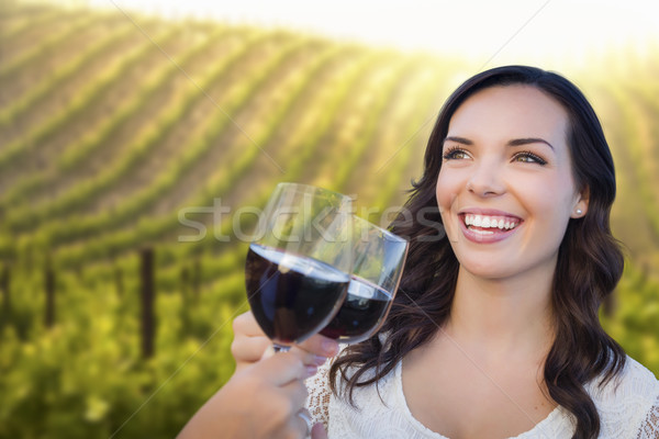 Young Woman Enjoying Glass of Wine in Vineyard With Friends Stock photo © feverpitch