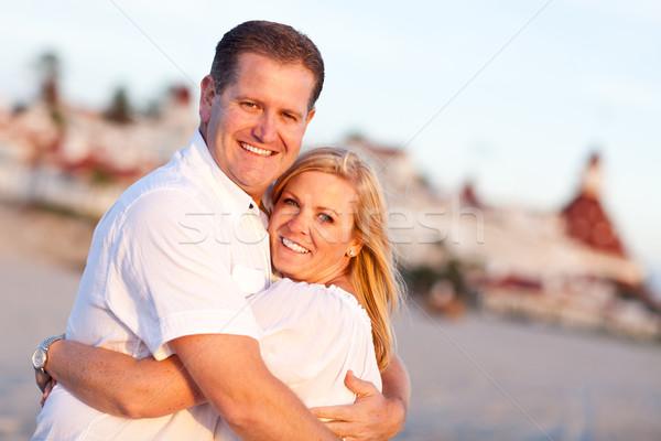 Atraente caucasiano casal praia hotel Foto stock © feverpitch