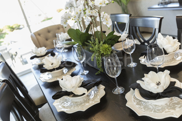 Absztrakt étkezőasztal hely beállítások gyönyörű ház Stock fotó © feverpitch