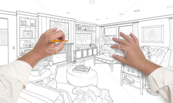 Hands Drawing Custom Living Room Design on White Stock photo © feverpitch