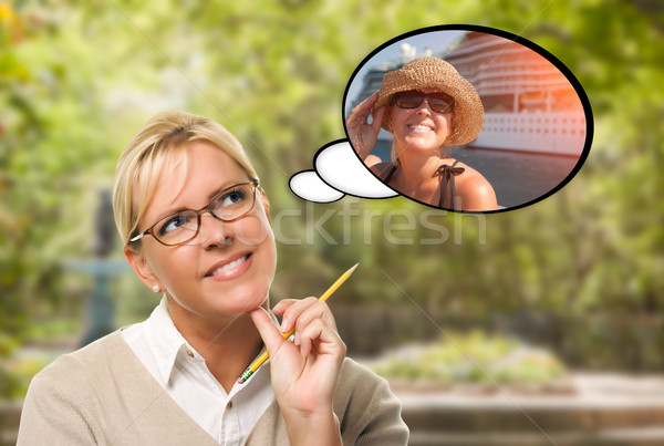 Thoughtful Young Woman with Herself Near Cruise Ship in Thought  Stock photo © feverpitch