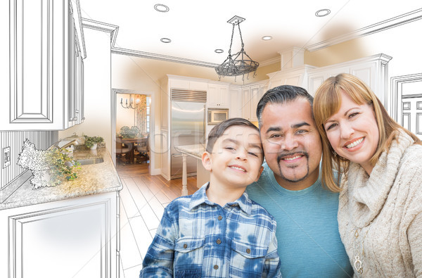 Young Mixed Race Family Over Kitchen Drawing with Photo Combinat Stock photo © feverpitch