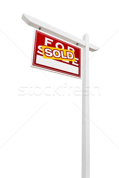 проданный продажи недвижимости знак изолированный Сток-фото © feverpitch