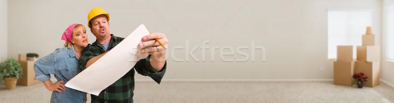 ヘルメット 計画 女性 の空室 ストックフォト © feverpitch