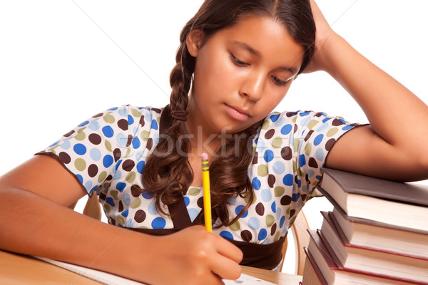 Pretty Hispanic Girl Studying Stock photo © feverpitch
