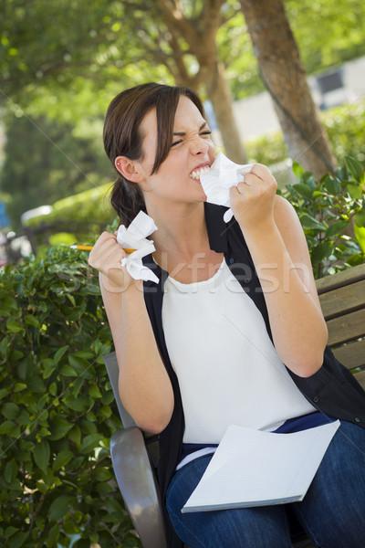 Zaklatott fiatal nő ceruza papír kezek csalódott Stock fotó © feverpitch
