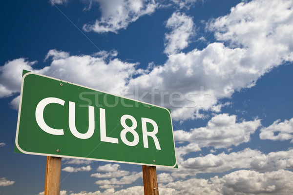 CUL8R Green Road Sign Over Sky Stock photo © feverpitch