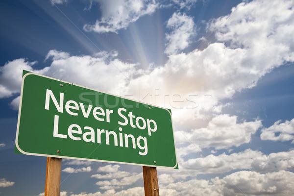 決して 停止 学習 緑 道路標識 劇的な ストックフォト © feverpitch