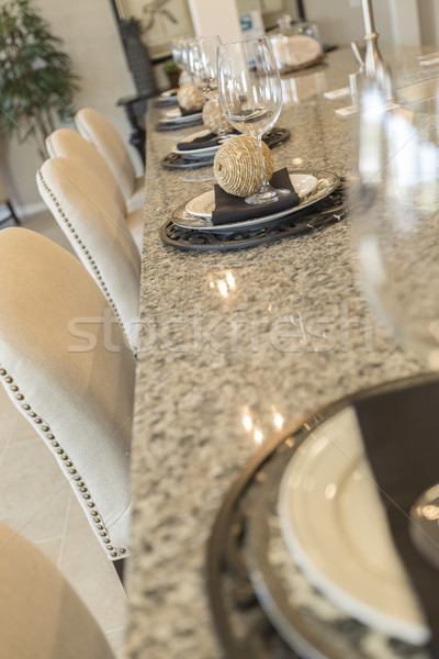 Abstract of Kitchen Counter Place Settings and Chairs Stock photo © feverpitch