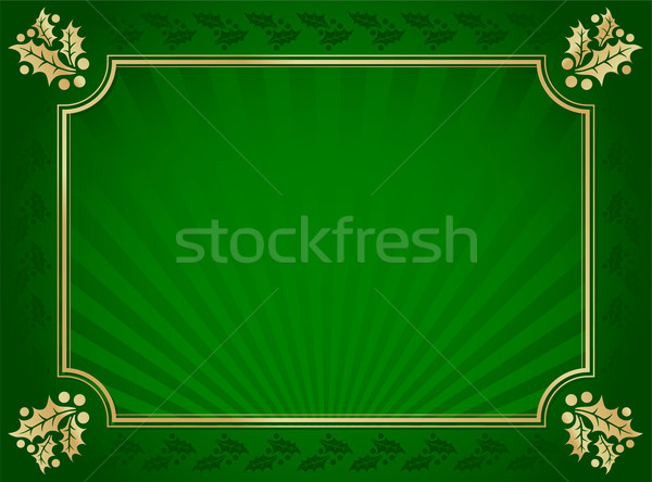 Green and Gold Elegant Holly Trimmed Background Stock photo © feverpitch