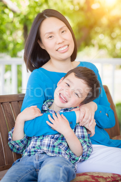 Outdoor Portrait of Chinese Mother with Her Mixed Race Chinese a Stock photo © feverpitch