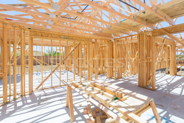 Stock photo: Wood Home Framing Abstract At Construction Site.