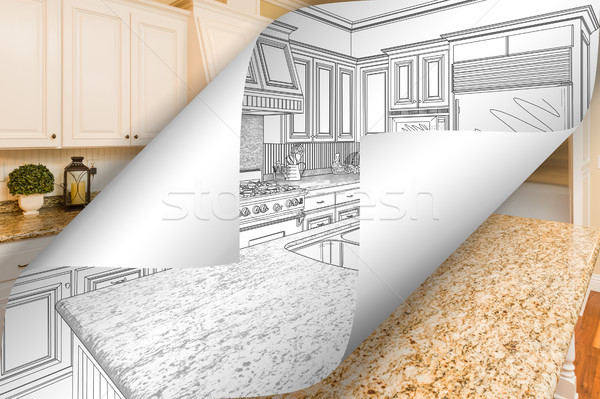 Kitchen Drawing Page Corners Flipping with Photo Behind Stock photo © feverpitch
