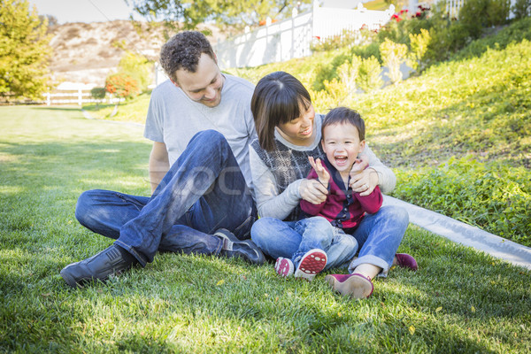 Stock photo: Mixed Race Family Having Fun Outside