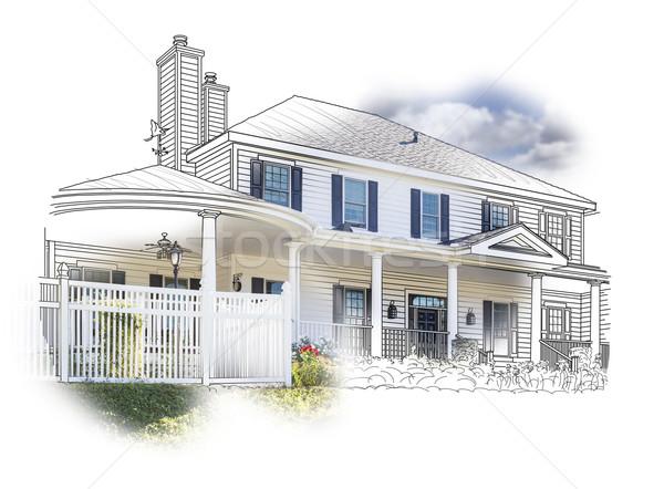 Ev çizim fotoğraf kombinasyon beyaz Stok fotoğraf © feverpitch
