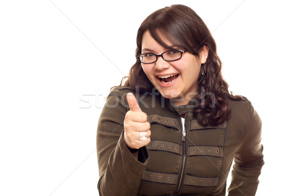 Excited Young Caucasian Woman With Thumbs Up on White Stock photo © feverpitch