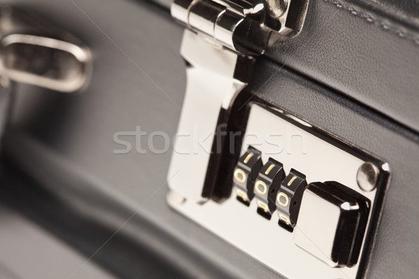 Close Up Shot of Black Briefcase Latch and Lock Stock photo © feverpitch