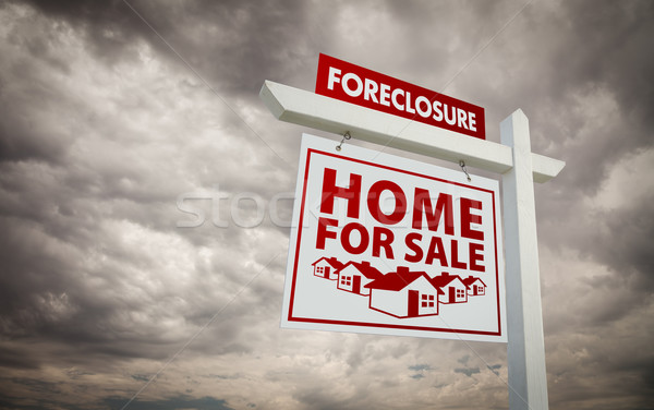 White and Red Foreclosure Home For Sale Real Estate Sign Over Cl Stock photo © feverpitch