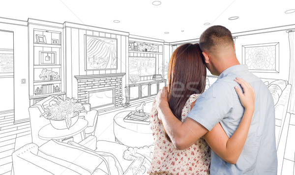 Military Couple Looking Over Custom Living Room Design Drawing Stock photo © feverpitch