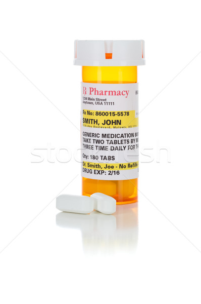 Non-Proprietary Medicine Prescription Bottle and Pills Isolated  Stock photo © feverpitch
