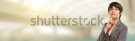 Félvér fiatal felnőtt női portré szoba szöveg Stock fotó © feverpitch