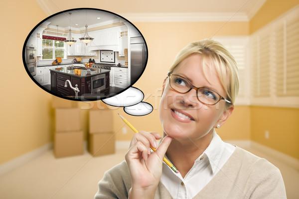 Nő üres szoba gondolatbuborék új konyha terv Stock fotó © feverpitch