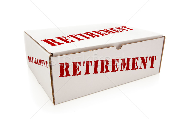 White Box with Retirement on Sides Isolated Stock photo © feverpitch