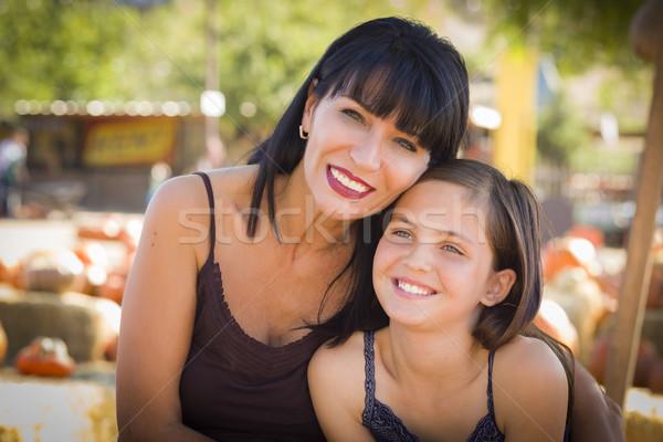 Stock fotó: Vonzó · anya · lánygyermek · portré · sütőtök · folt