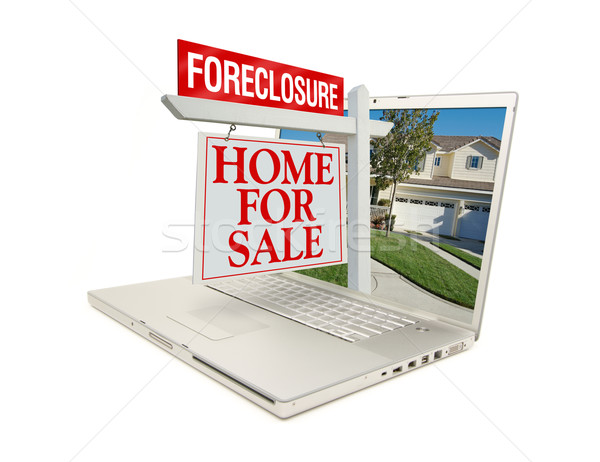 Foreclosure Home for Sale Sign & Laptop Stock photo © feverpitch