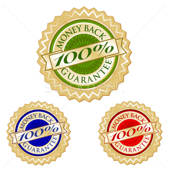 Set of Three 100% Money Back Guarantee Emblem Seals Stock photo © feverpitch