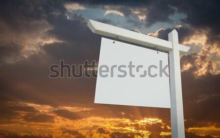 Stock fotó: Fehér · ingatlan · felirat · naplemente · égbolt · kész