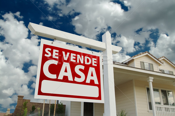 Se Vende Casa Spanish Real Estate Sign and House Stock photo © feverpitch