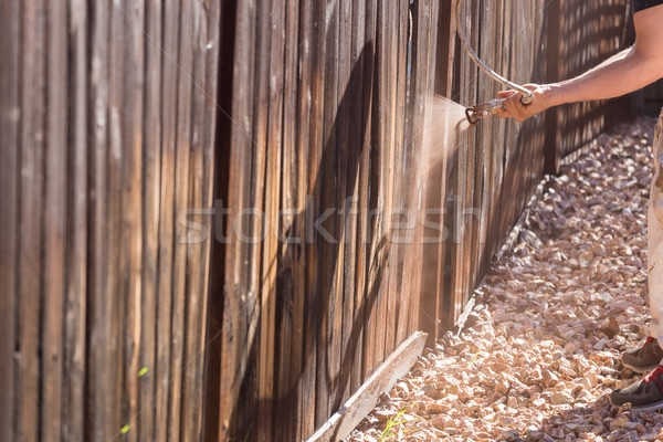 Professional Painter Spraying Yard Fence with Stain Stock photo © feverpitch