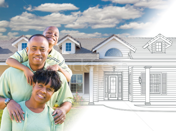 African American Family In Front of Drawing of New House Gradati Stock photo © feverpitch