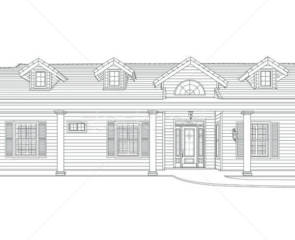 Gewoonte zwarte potlood huis tekening witte Stockfoto © feverpitch