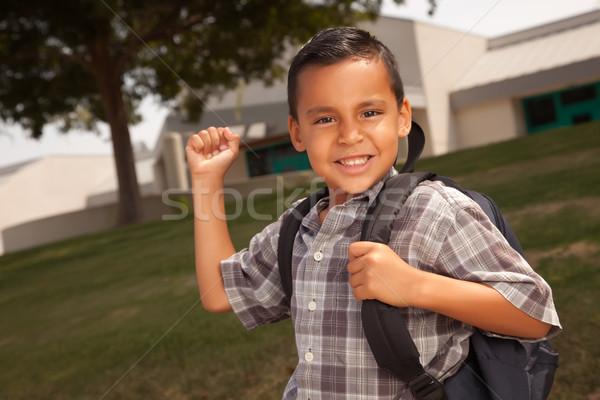 Feliz jovem hispânico menino pronto escolas Foto stock © feverpitch