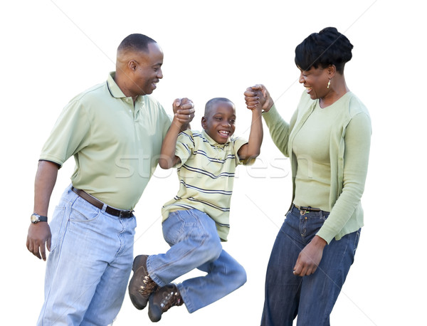 Playful African American Man, Woman and Child Isolated Stock photo © feverpitch