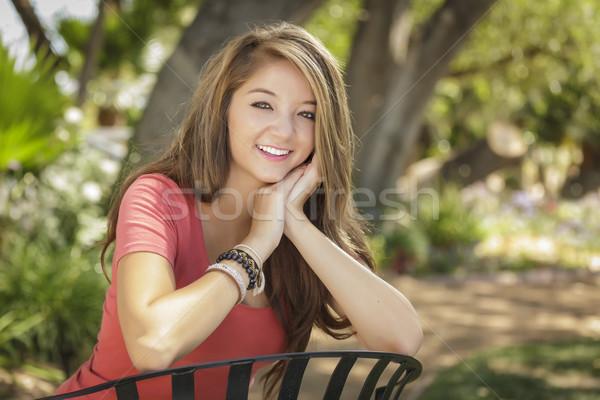 Atraente menina retrato sessão ao ar livre Foto stock © feverpitch