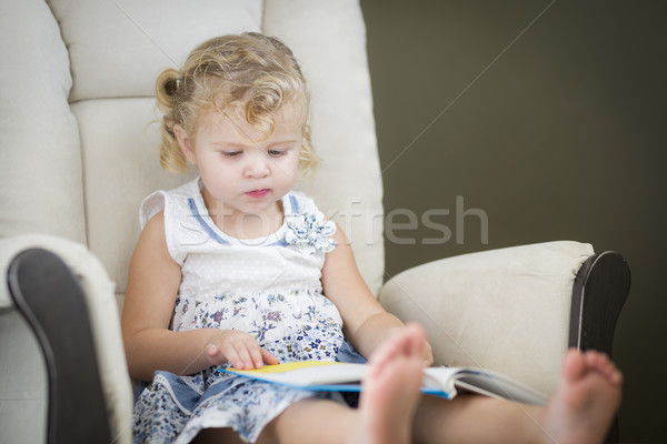 Blonde Haired Blue Eyed Little Girl Reading Her Book Stock photo © feverpitch