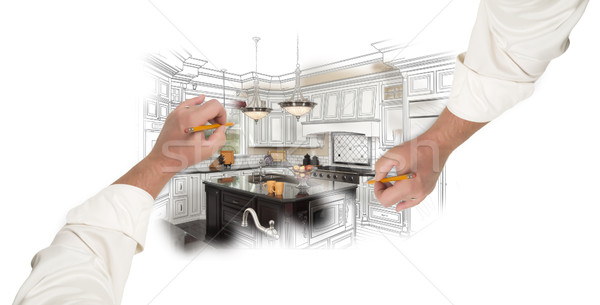 Two Male Hands Sketching Custom Kitchen with Photo Showing Throu Stock photo © feverpitch