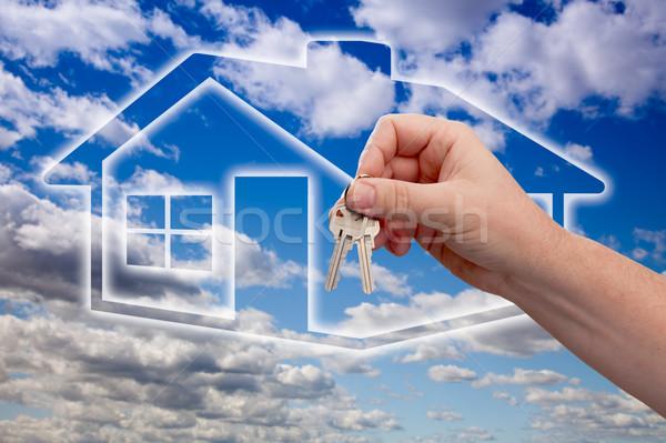 Foto stock: Teclas · casa · ícone · nuvens · céu · homem