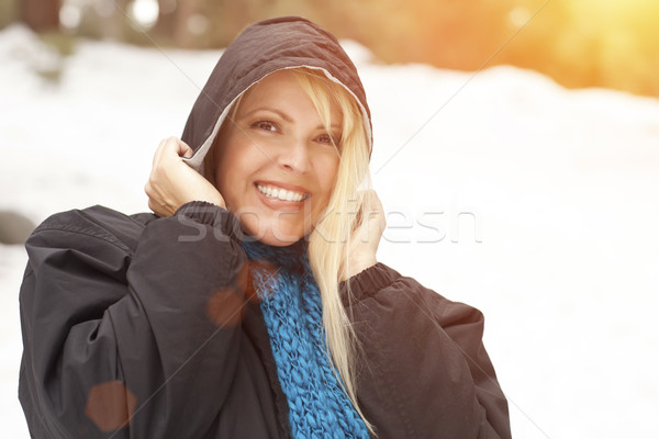 Attractive Woman Having Fun in the Snow Stock photo © feverpitch